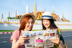 Two asian girlfriends traveling and check location by a map (anekphoto) Tags: bangkok travel asian temple thailand wat woman tourist girl happy buddha asia thai palace grand people vacation tourism religion landmark holiday portrait summer pho traveler ancient buddhism famous architecture chinese phra female lifestyle traditional history worship city trip person beautiful style destination outdoor attraction buddhist walking dress sightseeing map kaew