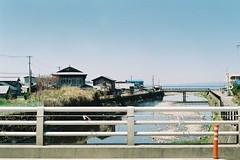 A scene on the bridge (しまむー) Tags: minolta α9000 af 50mm f17 kodak gold 200 横浜 菜の花 蕪島神社 列車 train yokohama kabushima