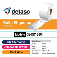 Pack 4 Rollo Dk1208 Etiquetas Alternativas (Detaso) Tags: chile brother dk dk2205 dk1201 dk1208 dk1209 dk2210 dk2243 dk1202 etiqueta rotuladora etiquetas 38mm x 90mm