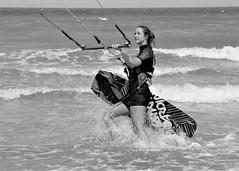 Windsuf2 (soyer_rodrigue) Tags: nikon d5100 nikond5100 noiretblanc noirblanc monochrome windsurf sport beach beachsport noordzee westende plage mer planche surf belgique belgium vlaanderen vlaamsekust