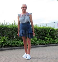 Photo of Asymmetric Hem Denim Skirt.