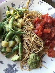 Vegan three-ring circus (artnoose) Tags: green red sauces sauce pesto summer dinner pasta vegan