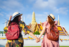 Two asian girlfriends traveling and running in Grand Palace and Wat phra kaew (anekphoto) Tags: bangkok travel asian temple thailand wat woman tourist girl happy buddha asia thai palace grand people vacation tourism religion landmark holiday portrait summer pho traveler ancient buddhism famous architecture chinese phra female lifestyle traditional history worship city trip person beautiful style destination outdoor attraction buddhist walking dress sightseeing look kaew