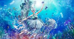 Jellyfish reef (meriluu17) Tags: moonamore poseidon hextrordinary sea undersea fantasy underwater reef surreal tale fairytale blue ocean salt liquid dance chase people portrait jellyfish jelly seahorse seadragon mermaid merfolk