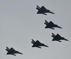 A quintet of Dassault Mirage 2000s, Armée de l'Air (French Airforce), Paris-La Défense, 2019-07-14. (alaindurandpatrick) Tags: arméedelair frenchairforce airforces combataircrafts dassault dassaultmirage2000 mirage2000 flypasts airparades bastilleday parisladéfense