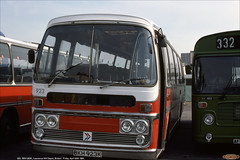 Ex- East Yorkshire 923,  BKH 923K, Lawrence Hill Depot, Bristol, April 20th 1984 (Bristol RE) Tags: 923 2108 bkh923k eastyorkshire bristolomnibus bristol leyland leopard plaxton panoramaeliteiiexpress lawrencehilldepot