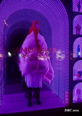 Fashons by night (DRC - THANKS for 3.4 Million Views) Tags: fashion night colorful prague czechrepublic model coat dress scarf lights purple red led store shop window mannequin olympus omdem5ii
