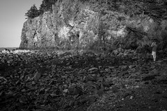 photographer David Aimone, at work, cliffs, low tide, near dusk, Owl's Head, Maine, Nikon D3300, Sigma EX DC MACRO, 7.15.19 (steve aimone) Tags: davidaimone photographer atwork bluffs cliffs stones lowtide nearsunset owlshead maine nikond3300 sigma1850mmexdcmacro landscape seascape latelight monochrome monochromatic blackandwhite