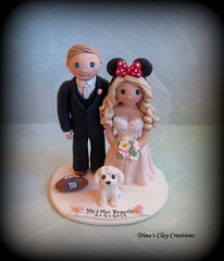 Wedding Cake Topper (Trina's Clay Creations) Tags: art sculpture claycaketopper clayfigure caketopper customcaketopper trinasclaycreations trinaprenzi topper polymerclay personalized groomscake weddingcaketopper wedding whimsical brideandgroom dog animal mickeymouseears football