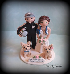 Wedding Cake Topper (Trina's Clay Creations) Tags: art sculpture claycaketopper clayfigure caketopper customcaketopper trinasclaycreations trinaprenzi topper polymerclay personalized groomscake weddingcaketopper wedding whimsical motorcycleracing helmet hat yorkie dog animal nurse