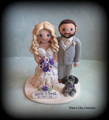 Wedding Cake Topper (Trina's Clay Creations) Tags: art sculpture claycaketopper clayfigure caketopper customcaketopper trinasclaycreations trinaprenzi topper polymerclay personalized groomscake weddingcaketopper wedding whimsical brideandgroom animal dog