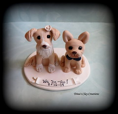 Wedding Cake Topper (Trina's Clay Creations) Tags: art sculpture claycaketopper clayfigure caketopper customcaketopper trinasclaycreations trinaprenzi topper polymerclay personalized groomscake weddingcaketopper wedding whimsical idotoo wedotoo dog animal pet