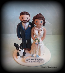 Wedding Cake Topper (Trina's Clay Creations) Tags: art sculpture claycaketopper clayfigure caketopper customcaketopper trinasclaycreations trinaprenzi topper polymerclay personalized groomscake weddingcaketopper wedding whimsical dog animal bostonterrier brideandgroom