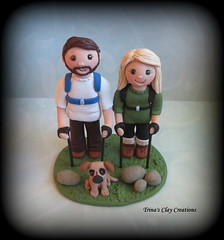 Wedding Cake Topper (Trina's Clay Creations) Tags: art sculpture claycaketopper clayfigure caketopper customcaketopper trinasclaycreations trinaprenzi topper polymerclay personalized groomscake weddingcaketopper wedding whimsical hiking dog outdoors