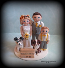 Wedding Cake Topper (Trina's Clay Creations) Tags: art sculpture claycaketopper clayfigure caketopper customcaketopper trinasclaycreations trinaprenzi topper polymerclay personalized groomscake weddingcaketopper wedding whimsical boy dog