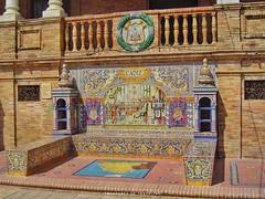 Surrounding the Plaza de España are 48 small alcoves with benches, each dedicated to a province of Spain and decorated with brightly colored ceramic tile artwork from each of those regions. This alcove showcases the Cadiz region. Seville's famous and icon (TreasuresOfTraveling) Tags: spanishtreasures travelgram bestplacestogo españa traveltheworld guyswhotravel cadiz seville wanderlust gaytraveler gaytravel gaytravelblog spanishprovince globetrotter spanishmonument worldtraveler europe photooftheday andalusia urbanpark followmefaraway ceramictile treasuresoftraveling maríalusiapark theglobewanderer spain travelspain sevilla passportstamps plazadeespaña