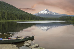 Trillium Lake, Oregon (Bonnie Moreland (free images)) Tags: water selection sunrise mountains forest shoreline canoe boat trilliumlake oregon snow mthood