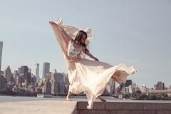 Mia (steveedreff) Tags: city bridge sky woman newyork cute sexy water fashion female dance cityscape dress photoshoot wind dancer skirt taiwanese