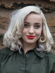 Black country museum 1940s event. (Adrian Walker.) Tags: elements girl blond bclm 1940s lipstick pale tamron18270 glamour