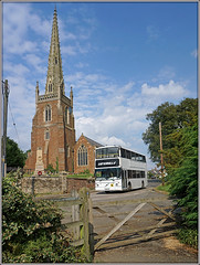 The Cathedral and The Catteralls...... (Jason 87030) Tags: church cathedral local shot afternoon school v109lgc catteralls southam white doubledecker gate fence scene uk northants northamptonshire portrait composition spire great nice wheels braunston image english england