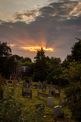 St Peters Church, Hambledon (markhortonphotography) Tags: surrey stpeters sunset church hambledon graves gravestone churchyard light crepuscular