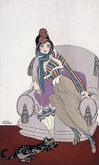 """""""Veste de soie écossaise"""" [Jacket of Scottish silk] from """"Journal des Dames et des Modes"""" / Veste de soie écossaise, du Journal des dames et des modes (BiblioArchives / LibraryArchives) Tags: libraryandarchivescanada bibliothèqueetarchivescanada lac bac canada fashion mode art prints gravures fashionplates gravuresdemode cat chat woman femme umbrella parapluie"""