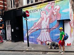Man and Dog - Soho (stevedexteruk) Tags: brewer street wardour dog anderson store hoarding 2019 soho london uk pride gay rainbow