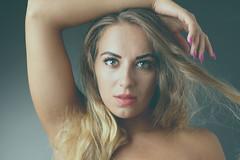 Monika (Wilamoyo) Tags: beauty portrait model girl woman female face blond hair long wavy eyes close up studio