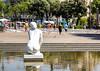 Statue (Behind) - Plaça de Catalunya (paulbidwell) Tags: barcelona spain europe statue woman pond
