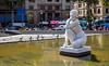 Statue (Front) - Plaça de Catalunya (paulbidwell) Tags: barcelona spain europe statue woman pond