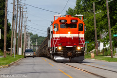 NICD 1001 @ Michigan City, IN (Michael Polk) Tags: chicago south shore bend railroad emd gp383 nictd nicd 1001 freight rail train michigan city indiana street running 10th 11th