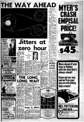 The Melbourne Herald- Thursday July 17, 1969- Page 5- Apollo 11 Liftoff (Vax80) Tags: apollo 11 moon landing nasa national aeronautics space administration july 1969 melbourne the herald newspaper neil armstrong edwin buzz aldrin michael collins saturn command service lunar module rocket cape canaveral kennedy australia united states america