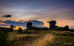 Summer evening in Moraczew (Magda Banach) Tags: europa moraczewo nikond850 windmill blue buildings clouds colors evening field flora grass greaterpoland green koźlak nature outdoor outside panorama plants poland sky summer sunset landscape