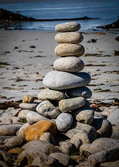 Cairns  on the Beach  No. 5 (CDay DaytimeStudios w /1 Million views) Tags: ca pebblebeach water 17miledrive pacificcoasthighway bluesky california rocks highway1 montereyca pacificgrove carmelca ocean pacificcoast coastline sky seascape beach landscape cairnsrockstacks montereybay