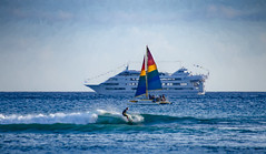What floats your boat? (Pejasar) Tags: three travel boat surf people pacific honolulu hawaii ocean waves water sailboat tourship