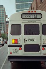 White School Bus (Jovan Jimenez) Tags: plustek opticfilm 8200i ai nikon fm3a nikkor 55mm f28 micro kodak gold 200 white school bus analog analogue special
