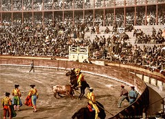 A bull fight in Barcelona, Spain ( 1890-1900 ) (Silverbanks Pictures Ltd.) Tags: photochrom 1900s grand tour europe bullfight matador barcelona spain 1890s color