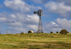 Windmill on the farm (Kool Cats Photography over 12 Million Views) Tags: sky green oklahoma windmill grass clouds canon landscape outdoor farm pasture hay backroads haybales canoneos6d canon24105f4lisusmlens