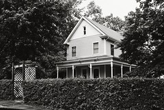 BD1-E010 (David Swift Photography) Tags: davidswiftphotography newjersey tuckertonnj houses homes homeexteriors victorianhouses architecture hedges 35mm arbor nikonfm2 kodaktrix