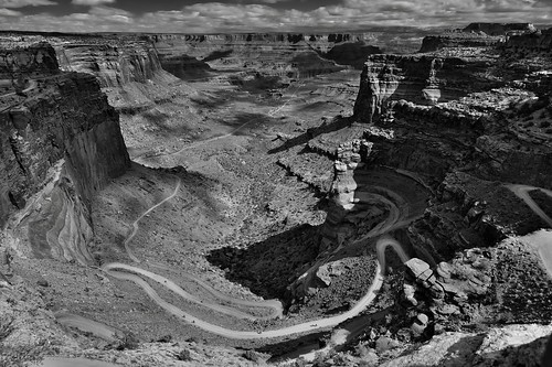 The Curves of Shafer Canyon Road and a Leading Line off into the Distance... (Black & White, Canyonlands National Park)