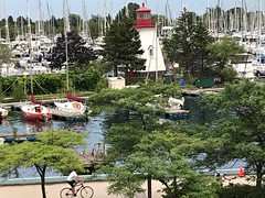View of the lighthouse at the Humber Bay Marina in Toronto  -  Explored (Trinimusic2008 -blessings) Tags: july2019 sailboats canada ontario toronto summer lighthouse trees judymeikle trinimusic2008