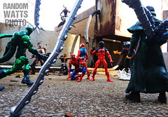 Sinister Six (RandomWatts) Tags: acba action figure photography toy artistry articulated comic book art marvel comics scarlet spider man spiderman kaine sinister six doctor cotopus scorpion kraven shocker mysterio green goblin
