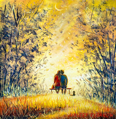 Oil painting romance and love. A loving couple and cat - young man and beautiful girl are sitting on bench and enjoying beautiful view of yellow sunset. Romantic landscape. (Painting by Rybakow) Tags: oil painting romance love loving couple cat young man beautiful girl sitting bench enjoying view yellow sunset romantic landscape
