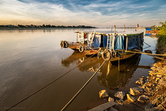 Boats on the Mekong River (Goran Bangkok) Tags: mekong nongkhai sunset thailand water reflection river evening clouds sky laos happyplanet asiafavorites