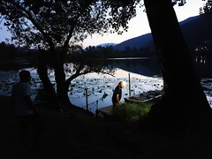 Fishing time (Mi-Fo-to) Tags: lago revine lake italy summer estate bluehour fishing pescatori sera smartphone lowlight fishermen samsung note 9 app opencamera open camera photo stacking water nature boat atmosphere outofcamera jpeg no retouch
