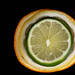 Top view of sliced Orange Lemon and Lime