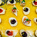 Flat lay photo of assorted canape