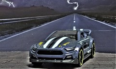 2015 Ford Mustang Racing Custom. (ManOfYorkshire) Tags: 2015 ford mustang custom racing 164 diecast small hotwheels hw thennow range release diorama lightning lightening detailed detaling repainting