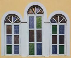 Church Windows (Julian Chilvers) Tags: peloponnese blue building window church finikounta greece green yellow windowwednesdays colour