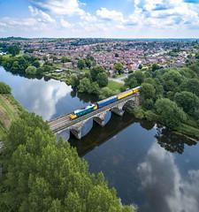 37610 over the Trent at Burton (robmcrorie) Tags: 37610 coalville line burton trent river bridge viaduct class 37 phantom 4 test train